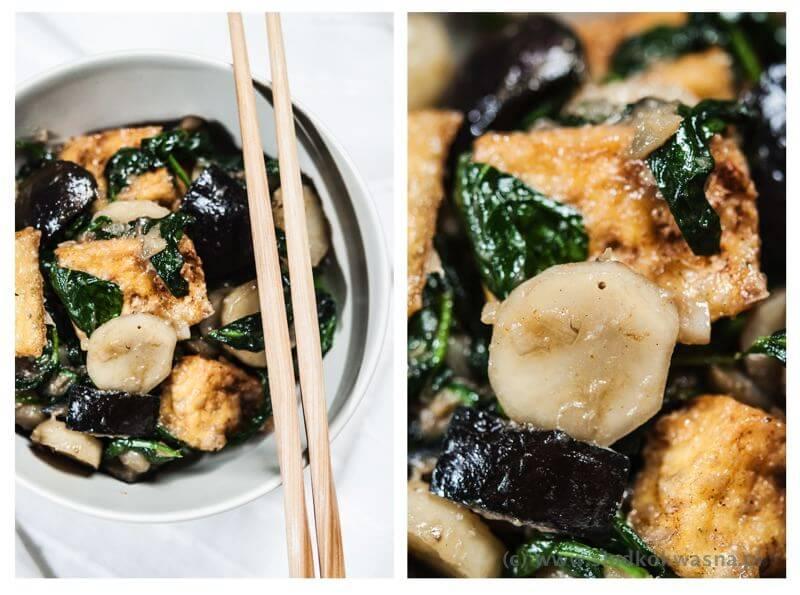 fot cookandwatch com topi z tofu i szpinakiem Topinambur smażony ze szpinakiem i tofu