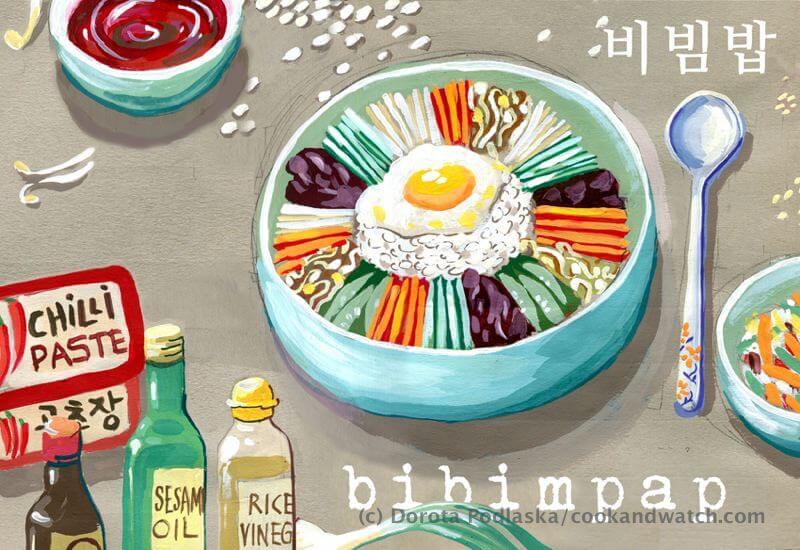 fot cookandwatch com bi bim pap male Po koreańsku i rysunkowo