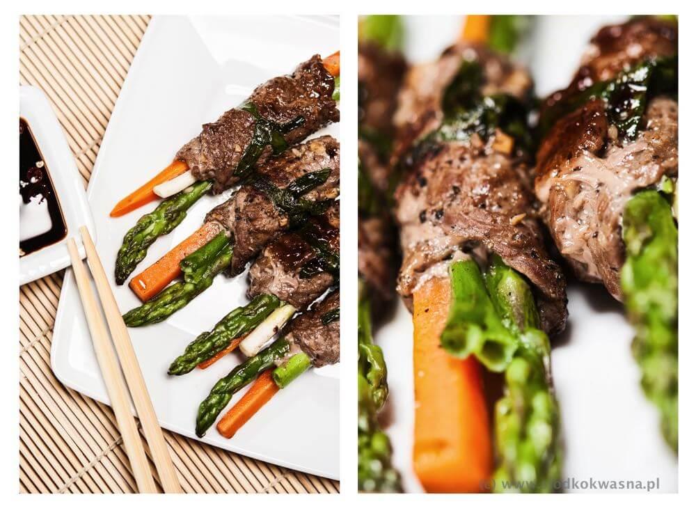 fot cookandwatch com szparagi w wolowinie Szparagi grillowane w wołowinie