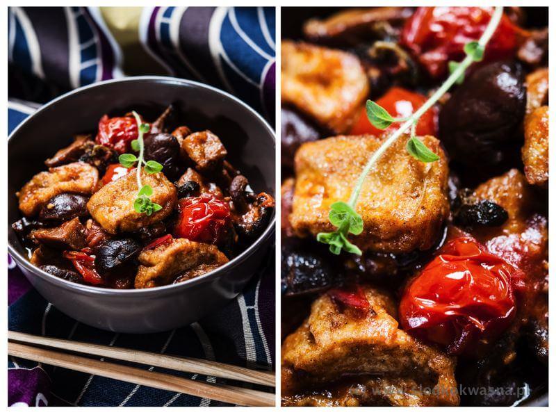 fot cookandwatch com tofu z pomidorami i shitake Jesienne tofu i grzyby