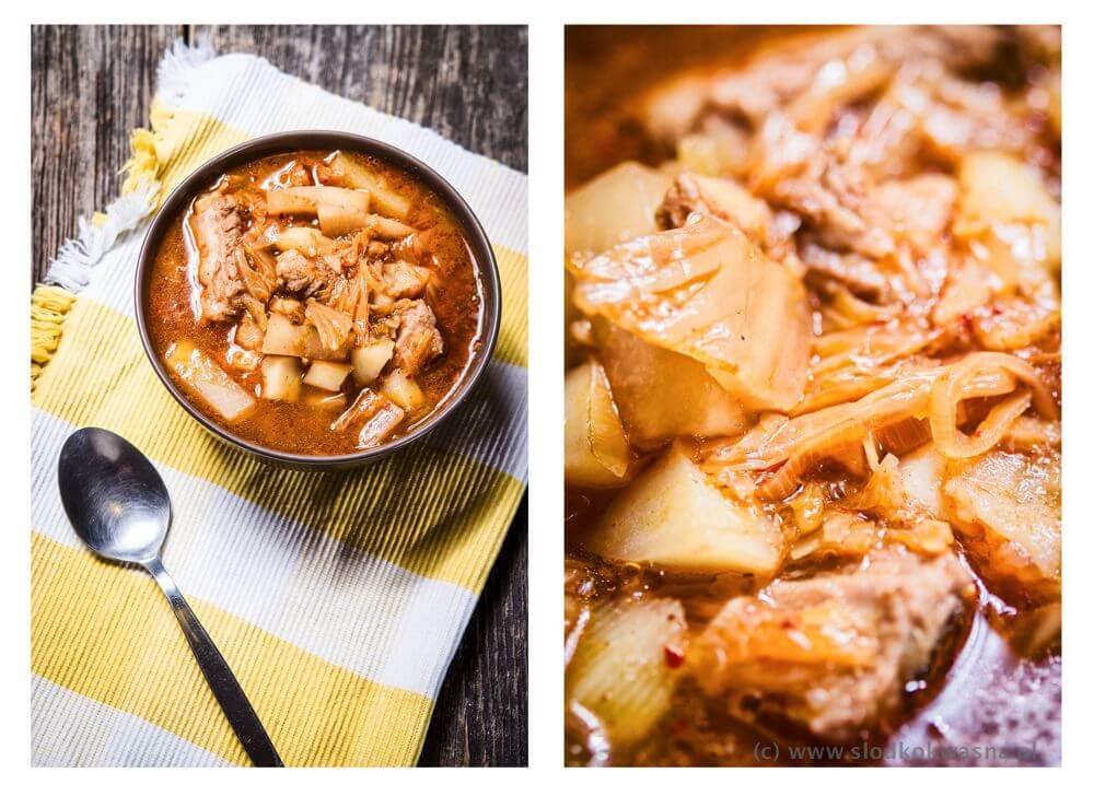 Zupa ostro kwaśna warzywna z żeberkiem i kimchi