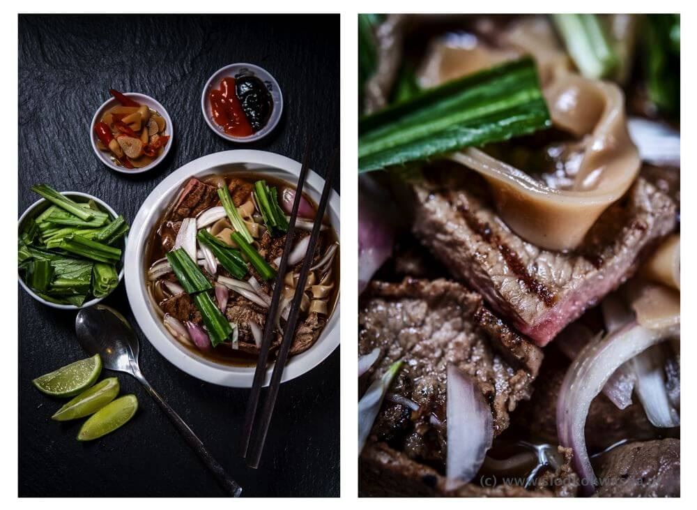 fot cookandwatch com pho z makaronem banh da Zupa a la pho z grilowaną wołowiną i makaronem banh da