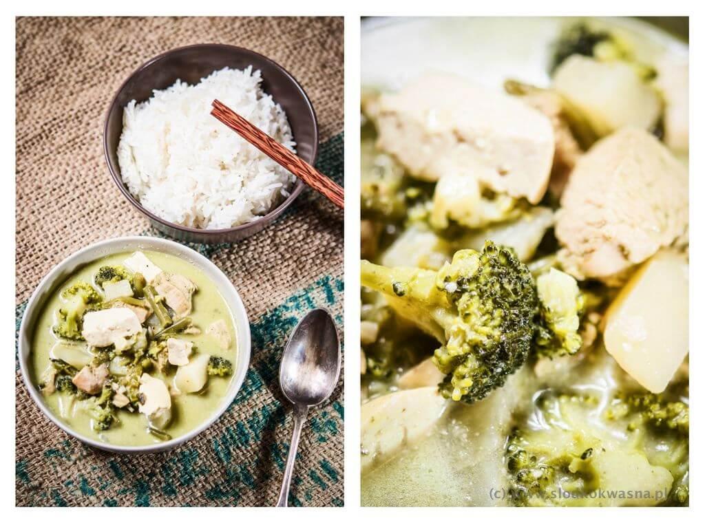 Zielone tajskie curry z kurczakiem i tofu