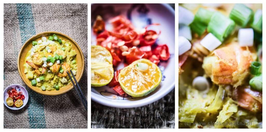 fot cookandwatch com curry ze swiezej pasty z krewetka Żółte curry z krewetką, słodkim ziemniakiem, kalarepą i porem