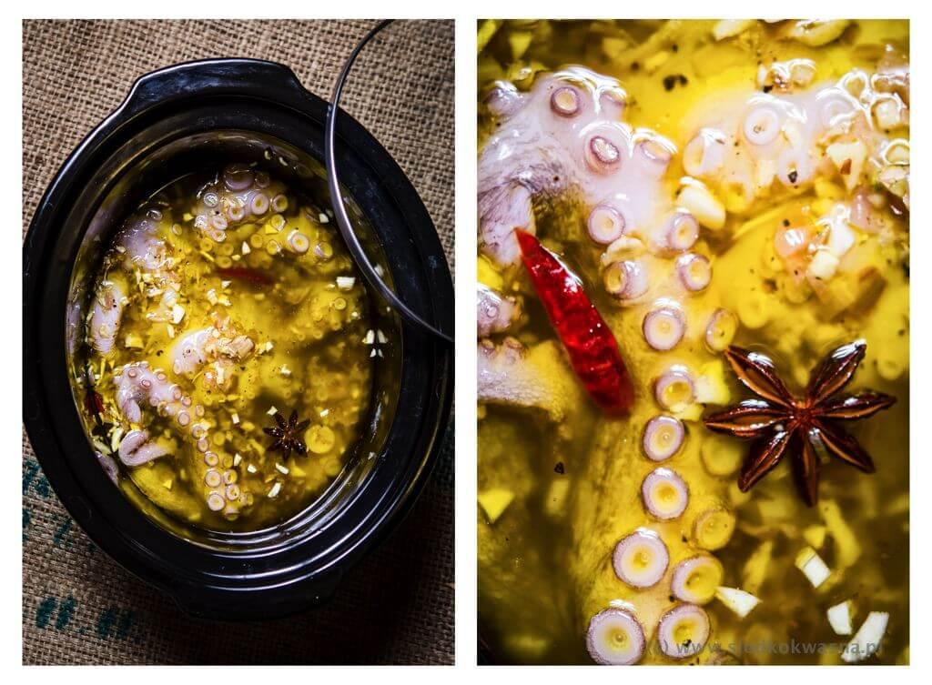Ośmiornica gotowana w oliwie w wolnowarze