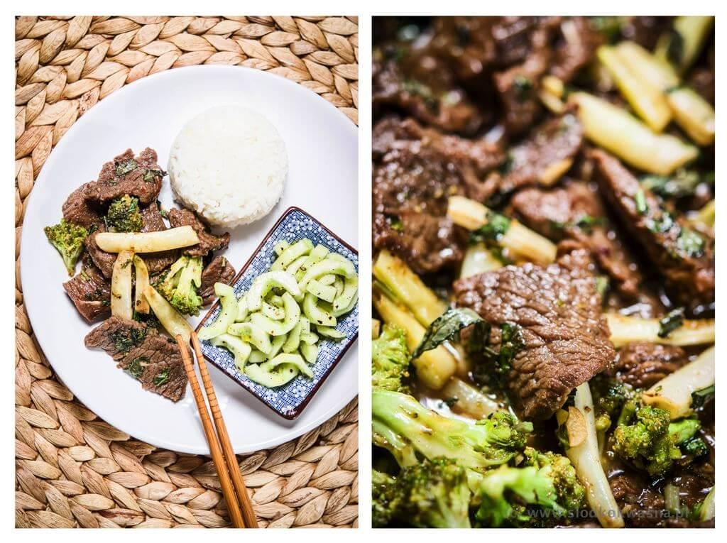 fot cookandwatch com wolowina z fasolka i brokulem Wołowina z fasolka i brokułem z woka