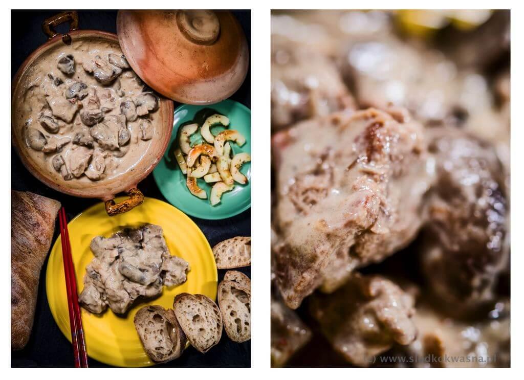 fot cookandwatch com gulasz z lopatki imbir i pieczarki Wieprzowina z imbirem i pieczarkami
