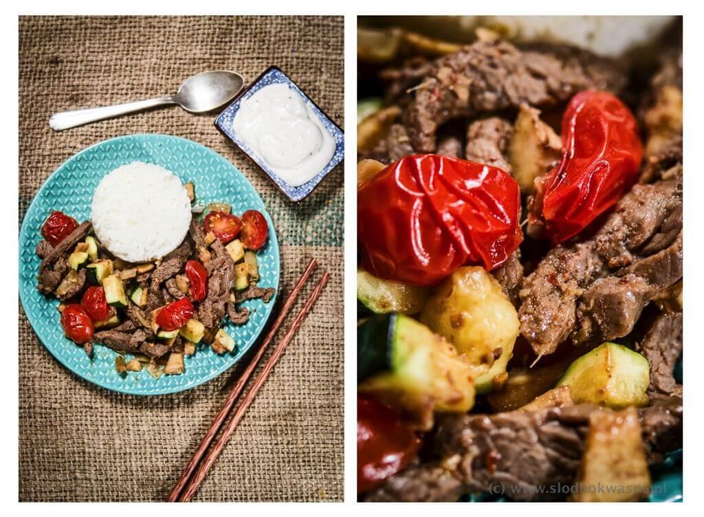 fot cookandwatch com trir fry wolowina z imbirem z cukinia i pomidorami Wołowina z imbirem, cukinią i pomidorami
