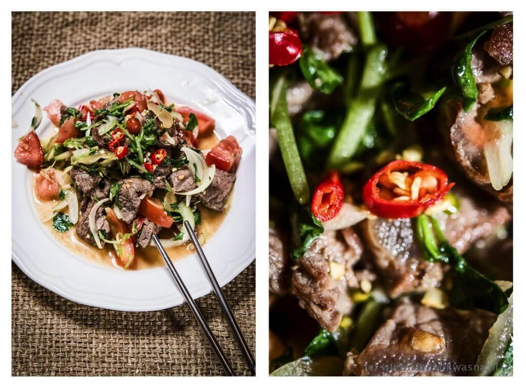 fot cookandwatch com wolowina z rukwia wodna salatka Sałata: rukiew wodna z wołowiną