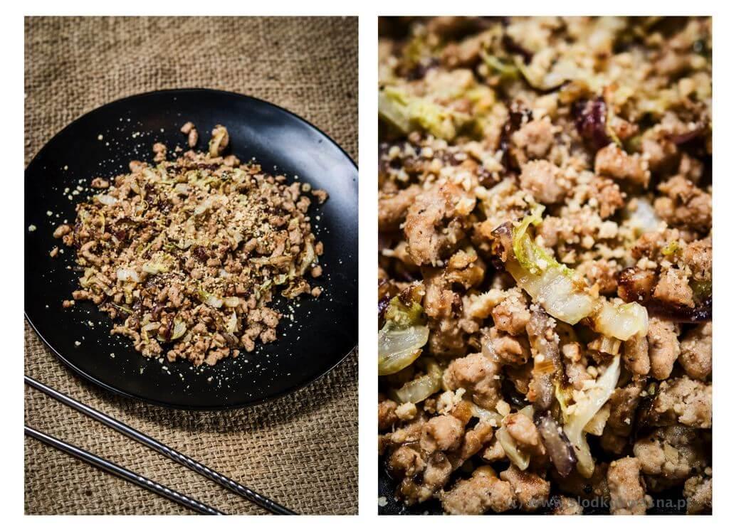 Sałatka na sposób tajski: niby laap z wieprzowiną i kapustą pekińską