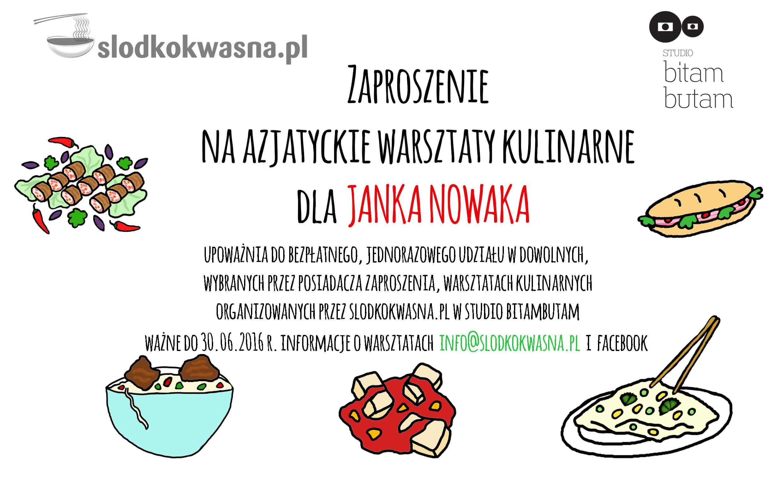 zaproszenie kupon Prezent voucher warsztatowy od slodkokwasna.pl