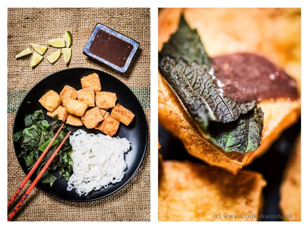 fot cookandwatch com Bun Dau Mam Tom tofu z pasta krewetkowa Tofu z makaronem bun, ziołami i sosem z pasty krewetkowej (Bun Dau Mam Tom)