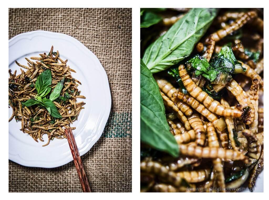 fot cookandwatch com Maczniki stir fry z liscmi kaffiru i bazylia tajska Mączniki smażone z bazylią tajską