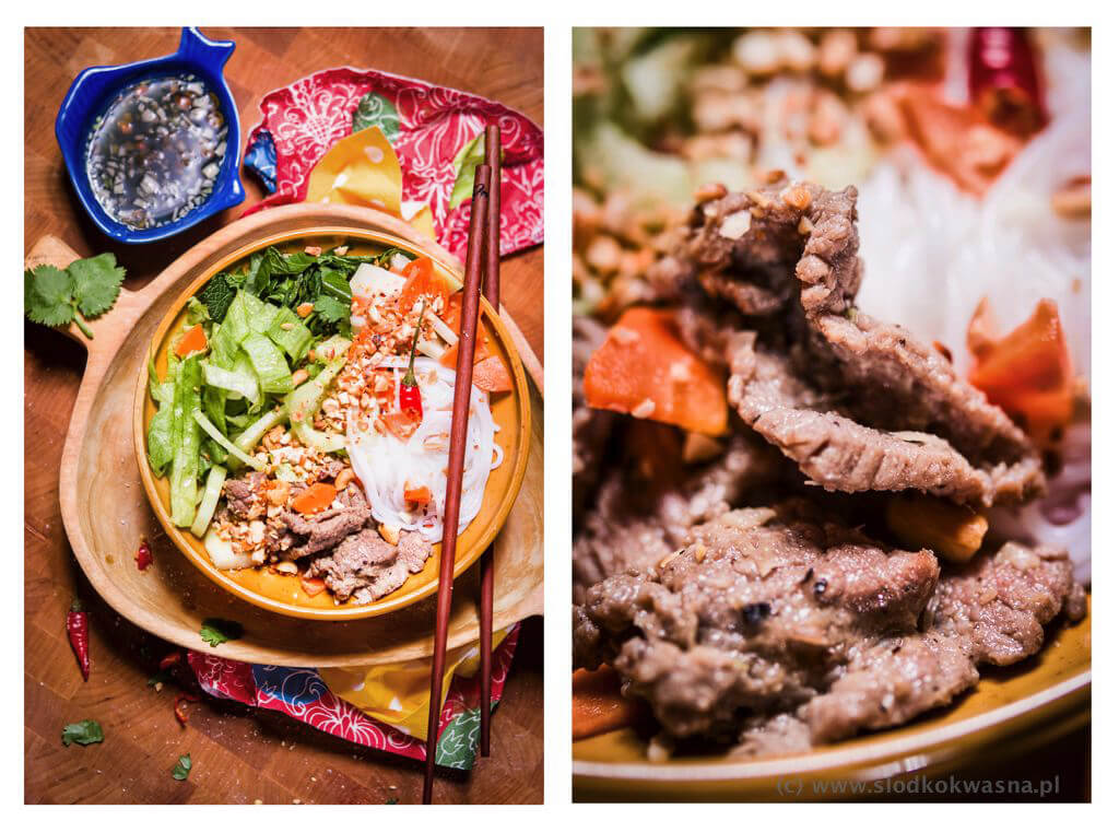Bun Bo Nam Bo Sałatka z wołowiną i makaronem bun
