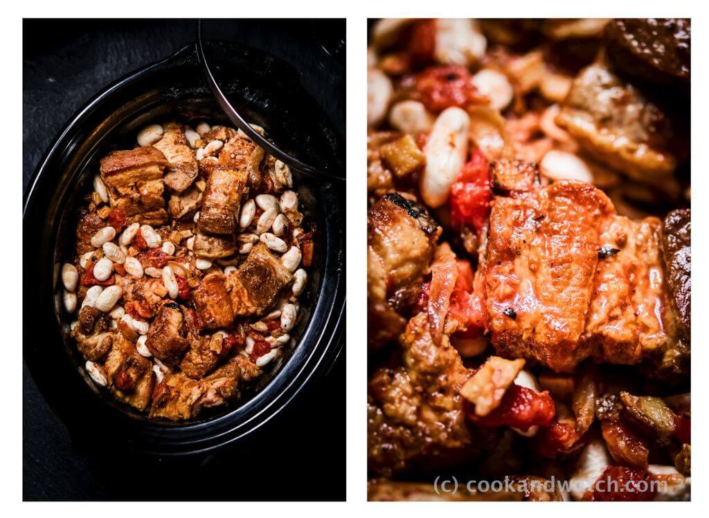 fot cookandwatch com boczek z fasola i pomidorami z wolnowara Boczek z fasolą i pomidorami z wolnowara