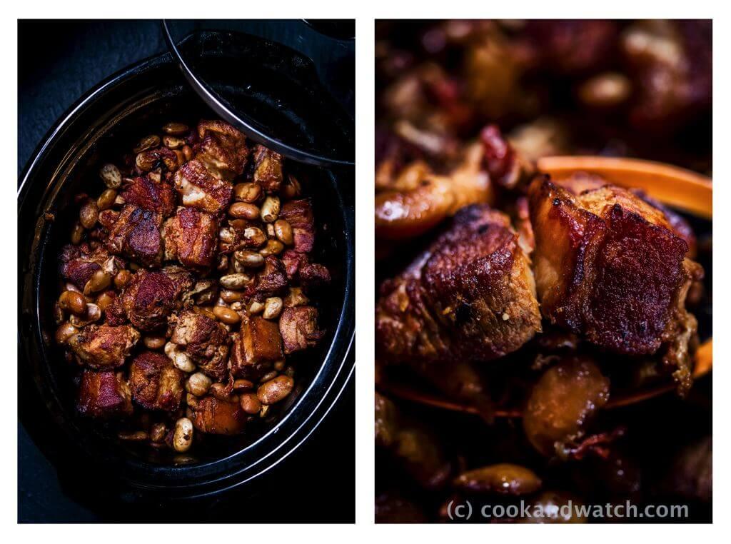 fot cookandwatch com boczek z fasola z wolnowara Boczek z fasolą i pomidorami z wolnowara