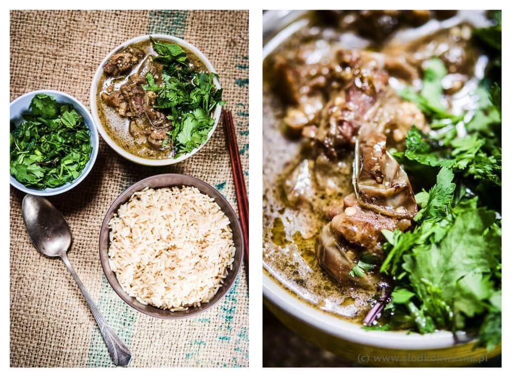 Curry z gęsią i bakłażanami