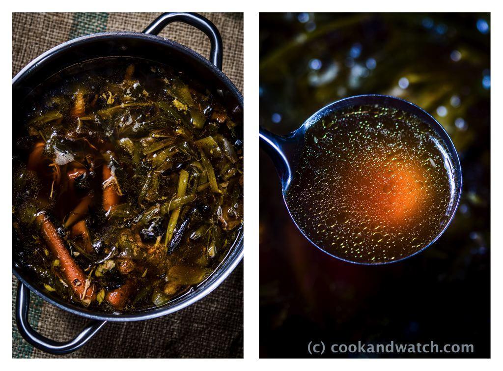 fot cookandwatch com bulion na przypieczonych warzywach i kurczaku Bulion z pieczonego kurczaka i warzyw