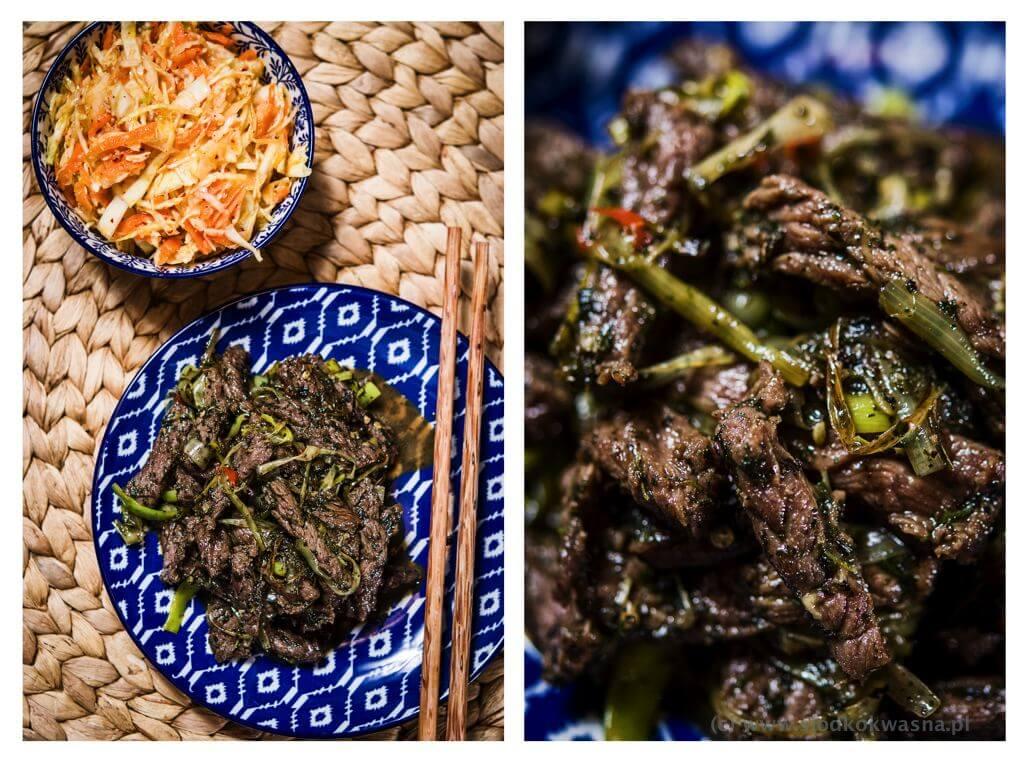 fot cookandwatch com rostbef z holy bazylia tajska chili i porem plus kapusta u chinczyka Wołowina stir fry z porem i bazylią holy
