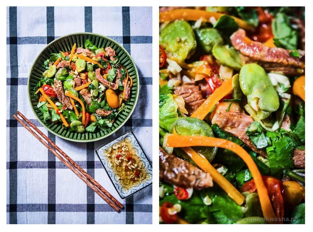 fot cookandwatch com salatka wolowina bob pomidor rukiew wodna marchewka kolendra Sałatka z wołowiną, bobem, kolendrą i rukwią wodną