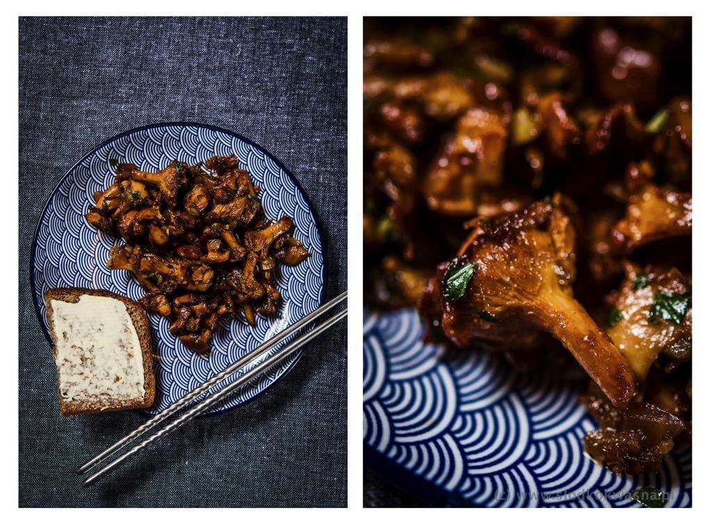 fot cookandwatch com kurki z pasta tom yum i cebula czerwona i biala i pachnotka zielona Smażone kurki z pastą tom yum