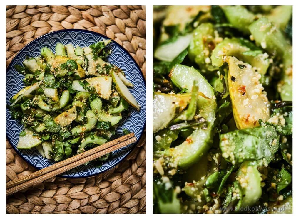 fot cookandwatch com slodkokwasna salatka weganska gruszka seler naciowy ogorek Sałatka z gruszką, rukwią wodną i miętą