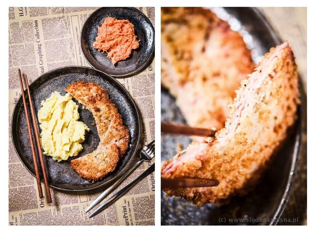 fot cookandwatch com hamkotsu puree ziemniak pietruszka marchewka Ham Katsu ハムカツ czyli chrupiacy kotlet z szynki