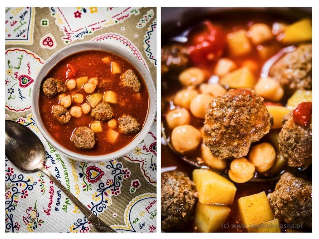 fot cookandwatch com zimowa zupa z ciecierzyca ziemniakami i pulpetami wołowymi z garam masala Zupa z cieciorką, garam masala i kulkami wołowymi