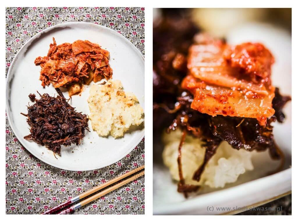 fot cookandwatch com prega wolowa z wolnowara po koreansku z ryzem kleistym odsmazanym i kimchi Pręga wołowa z wolnowara