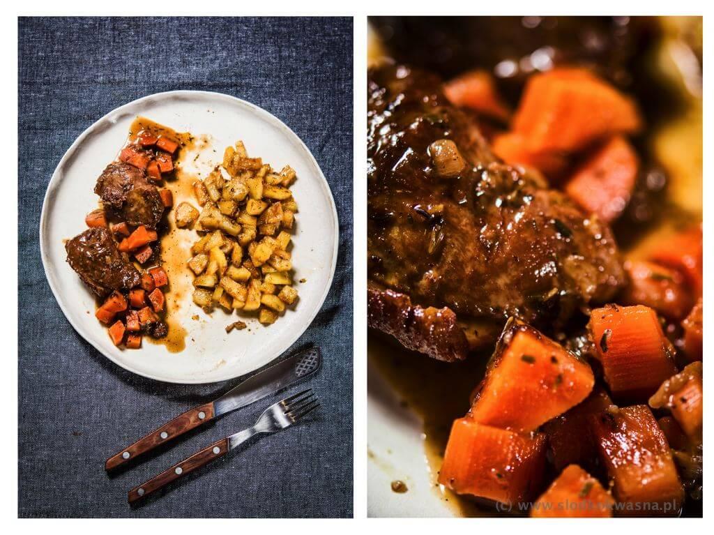fot cookandwatch com policzki wieprzowe plus ziemniaki z tkemali Policzki wieprzowe duszone z marchewką