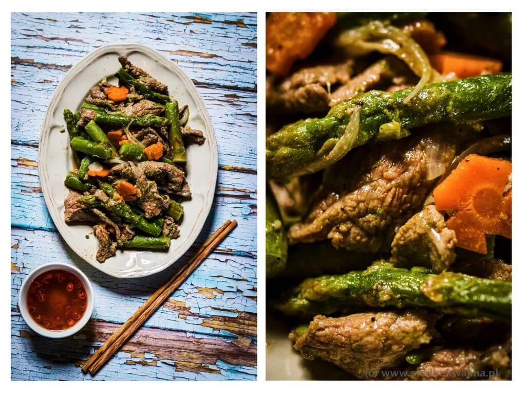 fot cookandwatch com wolowina ze szparagami po wietnamsku Szparagi z wołowiną smażone w woku